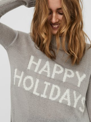 Šedý svetr s vánočním motivem VERO MODA