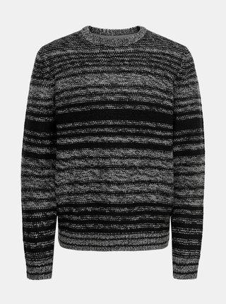 Šedo-čierny pruhovaný sveter ONLY & SONS Callen