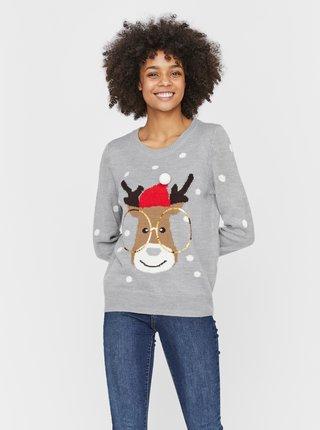 Šedý sveter s vianočným motívom VERO MODA