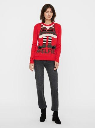 Červený svetr s vánočním motivem VERO MODA