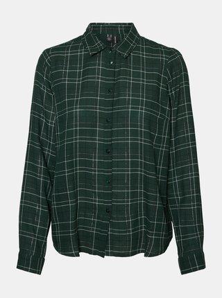 Tmavě zelená kostkovaná košile VERO MODA