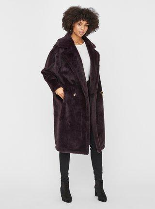 Tmavohnedý kabát z umelého kožúšku VERO MODA