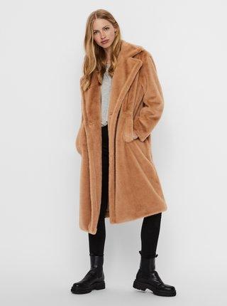 Světle hnědý kabát z umělého kožíšku VERO MODA Safia