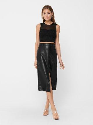 Čierna koženková sukňa ONLY Ruma