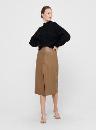 Hnědá koženková sukně ONLY Ruma