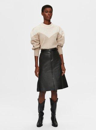 Béžový svetr s příměsí vlny z alpaky Selected Femme