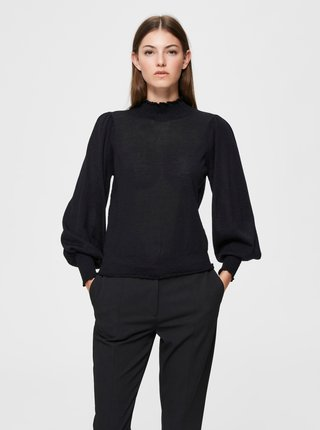 Čierna vlnená blúzka Selected Femme