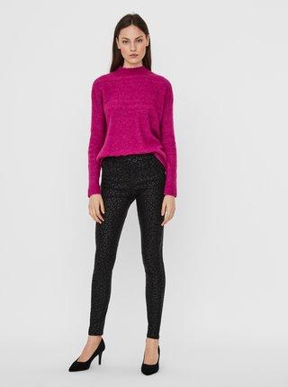 Čierne vzorované skinny fit nohavice s povrchovou úpravou VERO MODA