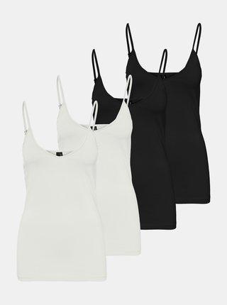 Sada čtyř basic tílek v černé a bílé barvě VERO MODA Maxi