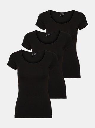 Sada troch čiernych basic tričiek VERO MODA