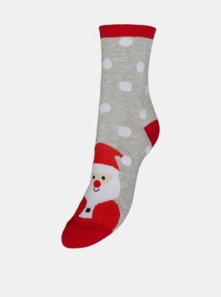 Šedé ponožky s vianočným motívom VERO MODA