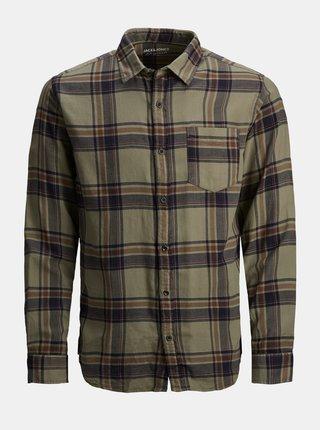 Kaki károvaná košeľa Jack & Jones