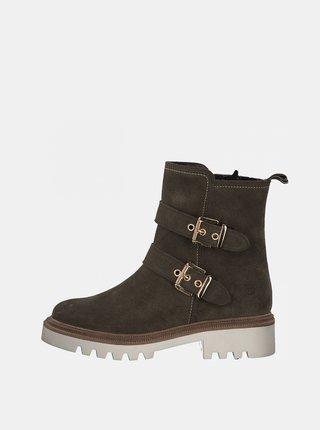 Khaki kožené kotníkové boty Tamaris
