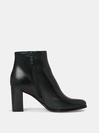 Tmavě zelené dámské kožené boty Tamaris