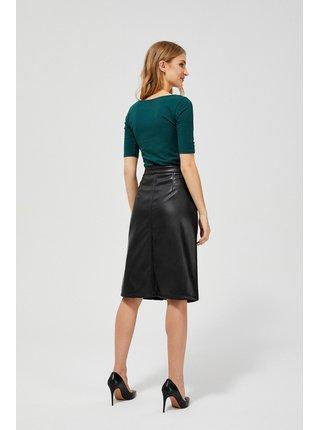 Moodo černá koženková sukně s vysokým pasem
