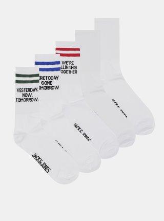 Sada piatich párov bielych ponožiek Jack & Jones