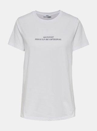 Biele  tričko s potlačou ONLY Gabriella