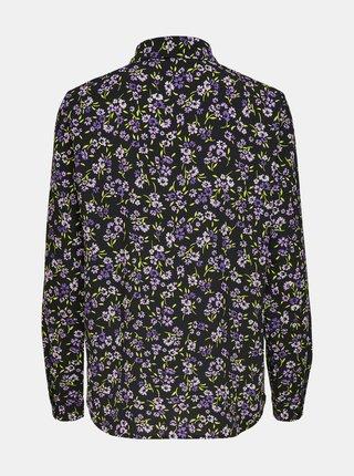 Černá květovaná košile ONLY Tenna