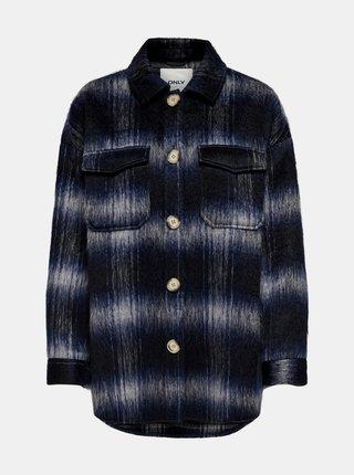 Černá oversize kostkovaná bunda ONLY Elina