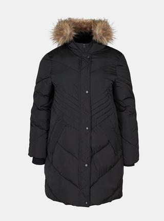 Černá dlouhá zimní bunda Zizzi