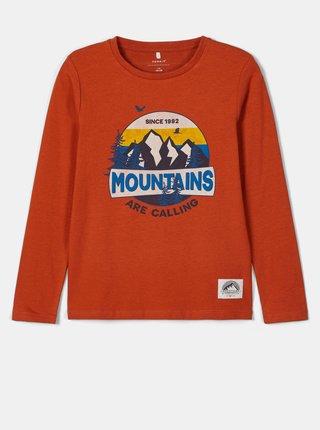 Oranžové klučičí tričko s potiskem name it