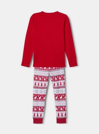 Červené dievčenské pyžamo s vianočným motívom name it