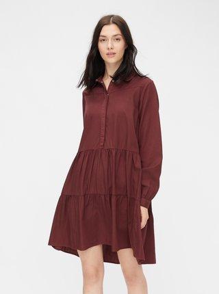 Hnedé košeľové šaty Pieces