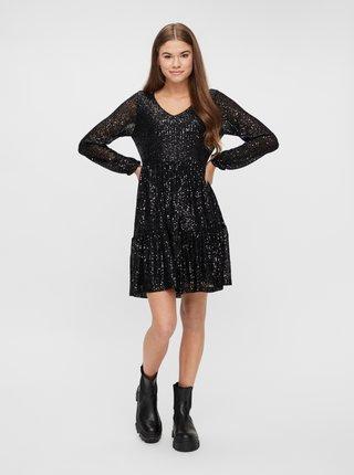 Čierne flitrované šaty Pieces