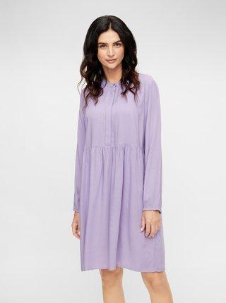 Fialové košeľové tehotenské/dojčiace šaty Mama.licious