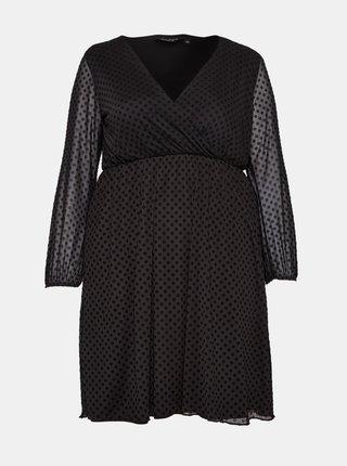 Čierne bodkované šaty Dorothy Perkins Curve