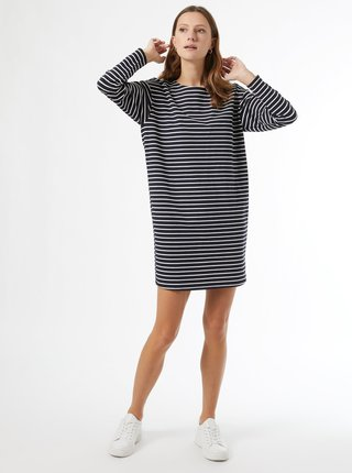 Tmavomodré pruhované mikinové šaty Dorothy Perkins