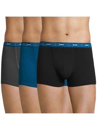 DIM COTTON STRETCH BOXER 3x - Pánské boxerky 3 ks - šedá - modrá - černá
