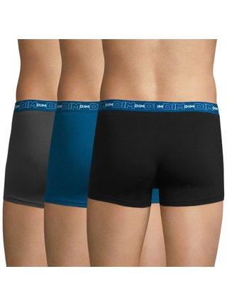 DIM COTTON STRETCH BOXER 3x - Pánske boxerky 3 ks - šedá - modrá - čierna