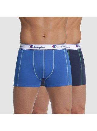 BOXER CHAMPION LEGACY PLAIN 2x - 2 ks pánských boxerek s logem Champion na pásku - modrá - tmavě modrá