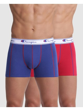 BOXER CHAMPION LEGACY PLAIN 2x - 2 ks pánských boxerek s logem Champion na pásku - červená - modrá