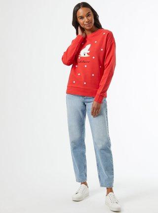 Červená mikina s vánočním motivem Dorothy Perkins
