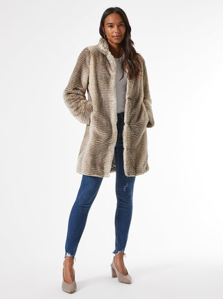 Béžový kabát z umělého kožíšku Dorothy Perkins