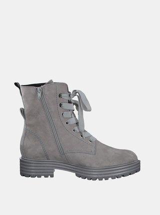 Šedé kožené členkové topánky Tamaris