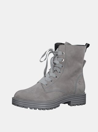 Šedé kožené kotníkové boty Tamaris