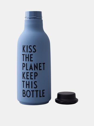 Modrá fľaša na pitie Design Letters 500 ml