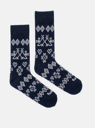 Tmavě modré vzorované ponožky Fusakle Modrotisk Čičmany