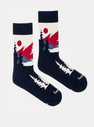 Tmavomodré vzorované ponožky Fusakle Panoramata