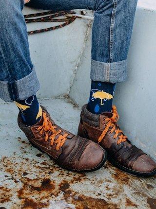 Tmavě modré vzorované ponožky Fusakle Podzimní den
