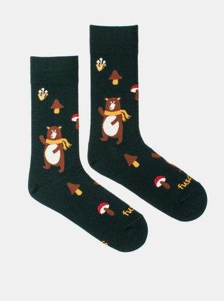 Tmavozelené vzorované ponožky Fusakle Medvěd