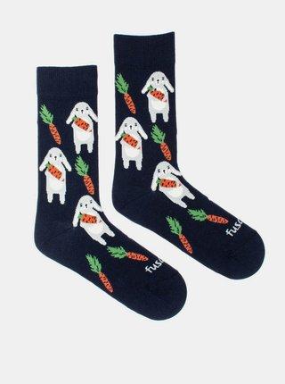 Tmavomodré vzorované ponožky Fusakle Zajíc