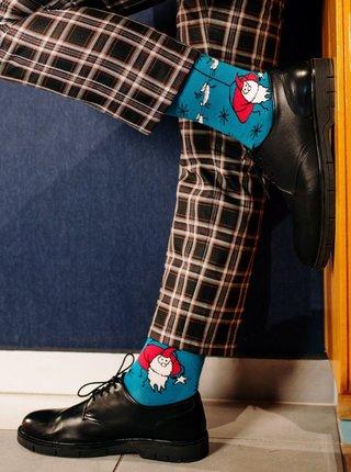 Modré vzorované ponožky Santa Fusakle Santa