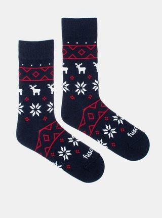 Tmavomodré vzorované ponožky Fusakle Zimník