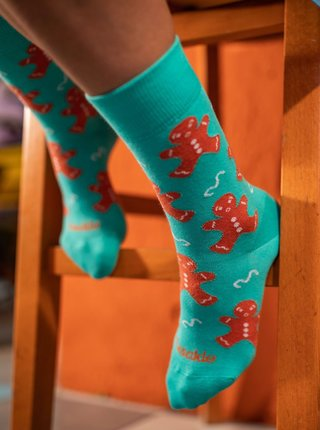 Tyrkysové vzorované ponožky Fusakle Trouba