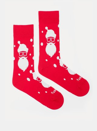 Červené vzorované ponožky Fusakle Hipstamráz
