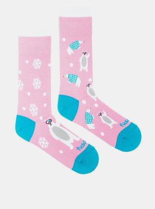 Růžové vzorované ponožky Fusakle Snowflake méďa